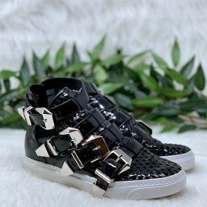 Jeffrey Campbell Black Buckle Hi Top Sneakers 7